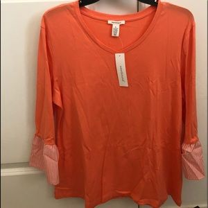 Westbound orange basic top with a bell sleeve